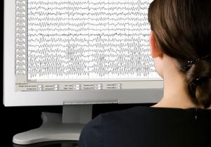 girl in front of EEG