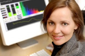 girl in front of white monitor NFB